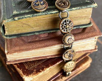 Antique Button Bracelet, Victorian metal picture, 1800's, vintage jewelry recycled repurposed assemblage edwardian buttons