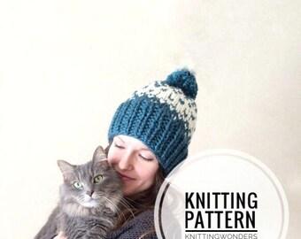 Knitting Pattern | Womens Hat Fair Isle Beanie With Pom Pom / Fall Autumn Fashion Style Winter Stylish Beanie Project / Easy Beginner
