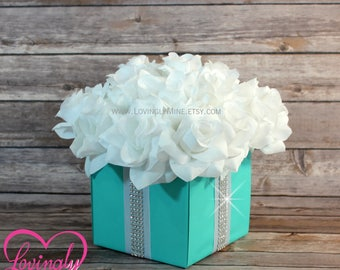 Centerpiece  Flower Box with Rhinestone Ribbon Accents | Robin Egg Blue | White | Table Decor | Silver Rhinestone Diamonds | For Any Event
