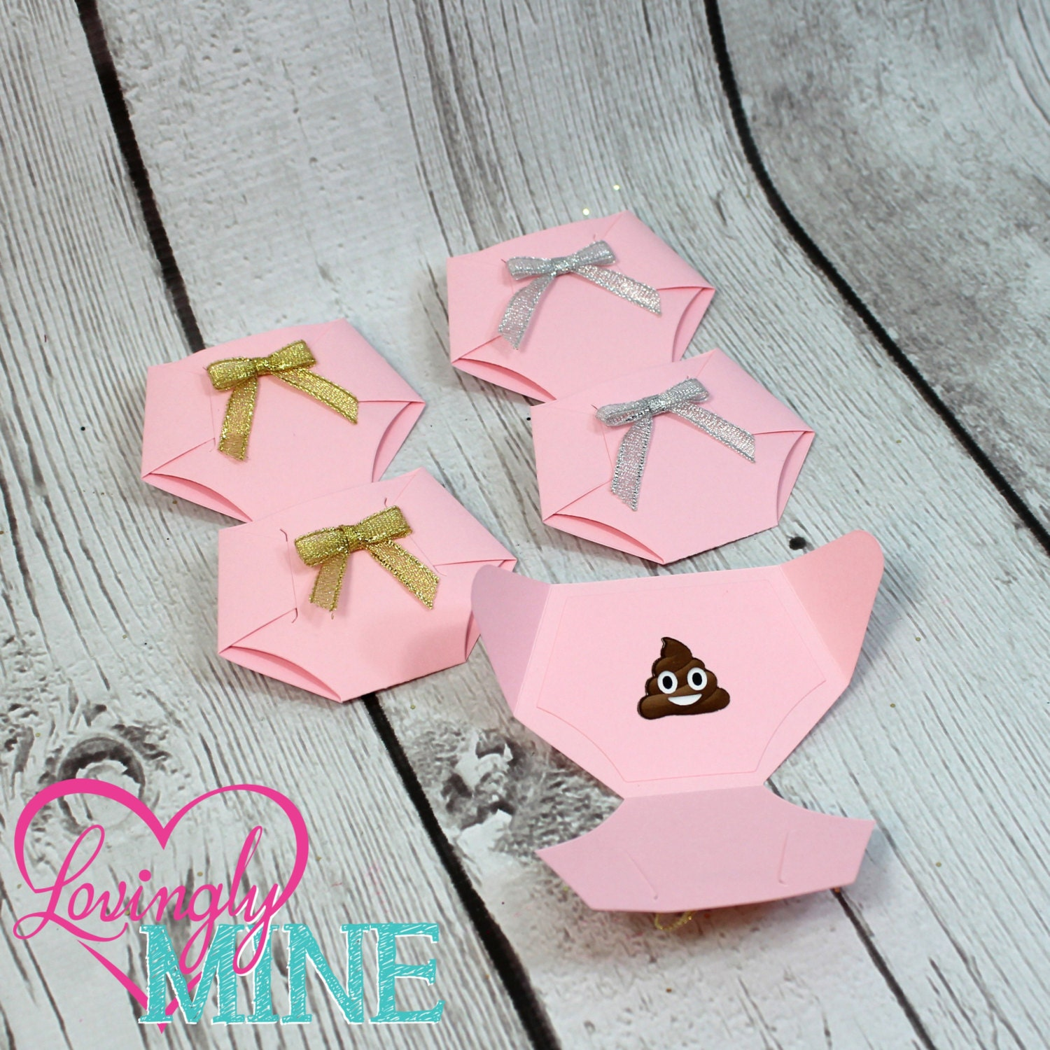 Things To Do With Diapers For A Baby Shower: Dirty Diaper Game Baby Pink Diaper Pins Gold Or Silver Bows