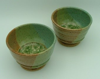 2 Wheel-Thrown Stoneware  Pottery Bowls on Pedestals
