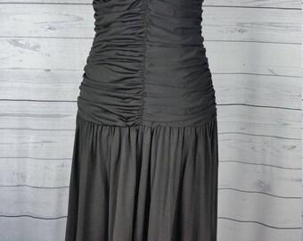 Jon Wesley Vintage LBD Black Dress Ruched Fitted Bodice Gathered Full Skirt  Rhinestones