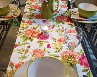 Pink Floral Table Runner, Spring Floral Table Runner, Summer Table Runner