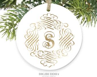 Monogram Ornament Personalized Ornament Family Name Initial Ornament Gold Custom Ornament Monogrammed Ornament Letter Ornament - Malvern