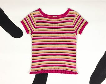 90s Pink and Orange Ribbed Stripe Baby Tee With a Wavy Hem / Cropped / Crop Top / Sorbet / Grunge / Club Kid / Sporty / Skater / Small / y2k