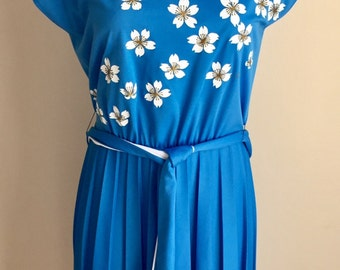 Vintage Misses' 1960s 70s Alfred Shaheen Blue Polyester Knit Flower Print Dress XS