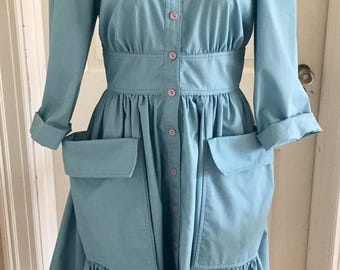 Vintage 1970s 80s Misses' Light Blue Shirt Dress NR1 By Ned Gould 0 2 4