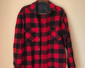 Vintage Buffalo Check Lumberjack Black and Red Wool Flannel Button Down