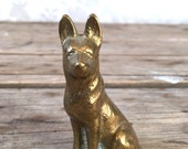 Brass German Shepard dog figure, golden, metal, mid century hollywood regency