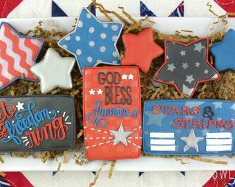 Fourth of July Sugar Cookies (Set of Nine)