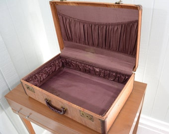 1940's Wooden Hard Side Suitcase Brown with Stripes and Purple Silk Interior