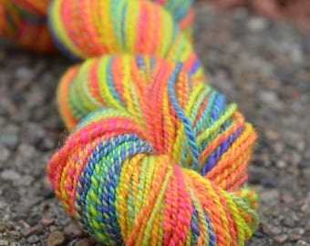 Handspun BFL YarnAJ's Handmade Creations Neon Rainbow 159 Yards 3.9 ounces 2 ply