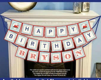 Train Birthday Banner - Choo Choo Train Party Banner - Personalized Party Banner - Digtal & Printed Available
