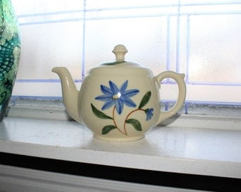 Vintage Teapot Shawnee Pottery Blue Flower