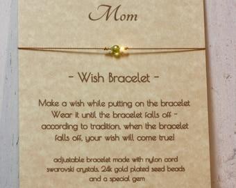 Gift for Mom, Wish Bracelet, Birthstone Bracelet, Gift Under Fifteen, Birthstone Wish Bracelet, Semi-Precious Gems