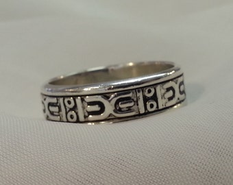 Vintage Mans Tribal Wedding Band Sterling Silver Large Size Tracy B Designs Estate Jewelry Seller And