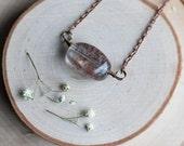 "SALE - Tumbled Lodolite Quartz Necklace on an 18"" Antiqued Copper Colored Chain"