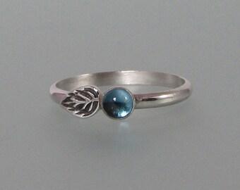 London blue topaz leaf ring - sterling silver petal ring - woodland ring - December birthstone -nature inspired boho ring - botanical ring