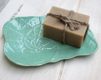 shell soap dish, nautilus shell, aqua green, soap tray, bathroom accessories, home decor, turquoise shell, beach house, organic pottery, spa
