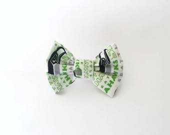 PET BOW: Seattle Seahawks Inspired White Pet Bow for Dogs or Cats // Gifts for Dogs // Dog Bow Tie // Pet Bow Tie