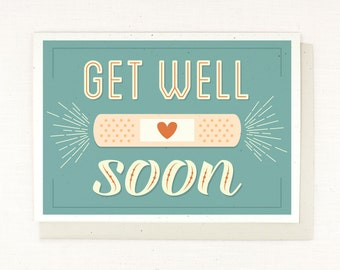 Get Well Soon Card, retro fun typography, thinking of you, hoping you get well, feel better, card for sick or injured, i'm here for you