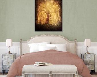 Fairytale Tree Canvas, Tree Photo, Large Canvas Print, Hearts Tree, Golden Light, Fine Art, Forest Home Decor, Woods, Nature Canvas, Autumn