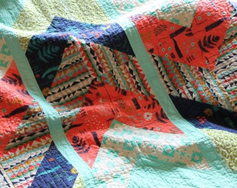 Modern Throw Quilt, Lap Quilt, Boho Quilt, Cotton and Steel Mesa Fabric, Boho, blanket, Arrow's Away Quilt, Navy, Coral, Turquoise, Aqua