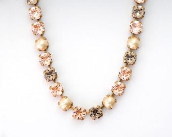 Peach Rhinestone Necklace, Peach Crystal Jewelry, Rhinestone Jewelry, Austrian Crystal Necklace, Nickel Free Antiqued Brass Chaton, Danette