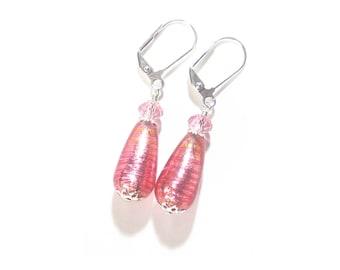 Murano Glass Pink Teardrop Sterling Silver Earrings, Venetian Jewelry, Sterling Silver Leverbacks, Post Earrings, Lampwork Glass Jewelry