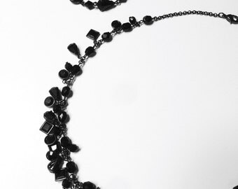 Vintage Carolee Jet Black Demi Parure Choker Bracelet