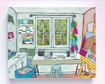 Art studio painting still life interior - The Artist's Studio III