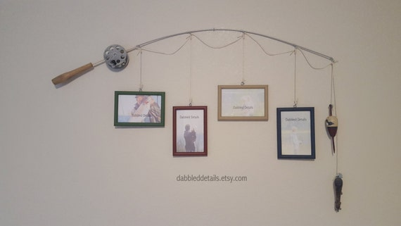 Fishing pole picture frame silver or brown pole 4 4 in x for Fishing picture frame