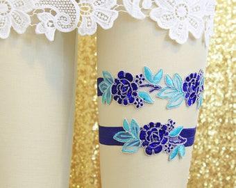 Royal Blue and Mint Flower Lace Garter Set, Blue Lace Wedding Garter,Blue  Wedding Garter, Blue Toss Garter, Wedding Garter Belt/ GT-34