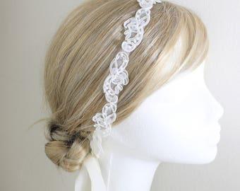 Skinny Ivory Sequince and Pearl Beaded Lace Headband, Ivory Head Tie,Bridal Hair Accessories, Bridesmaid Headband, Prom Headband