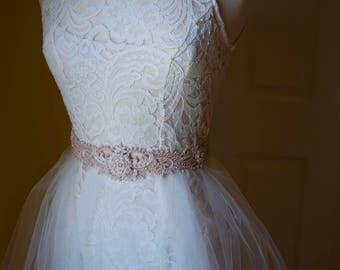 Blush Beaded Wedding Sash, Soft Pink Bridal Belt, Soft Blush Hand Beaded Sash