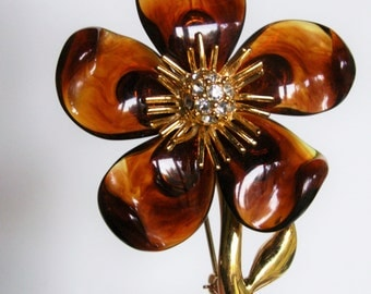 Joan Rivers Large Faux Tortoise Shell Gold Tone Flower Pin with Crystal Accents Designer Signed Jewelry