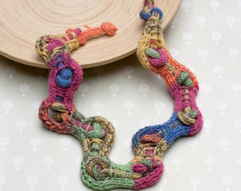 Colorful chunky necklace, asymmetric knitted necklace, OOAK fiber statement jewelry