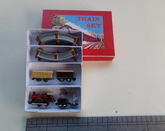 1:12th Boxed Burgundy Train Set with Track etc for the Dolls House Nursery/Study