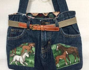 Horses In Field Equestrian Denim Jeans Purse Tote Bag