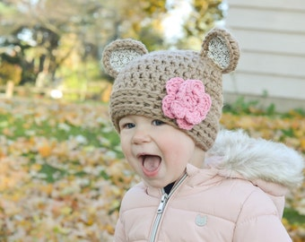 bear hat,crochet bear hat,baby bear hat, teddy bear hat, girls beat hat, baby hat, crochet baby hat