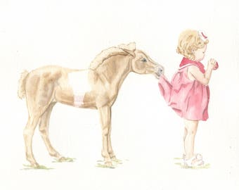Pony and Child, 8x10 PRINT from original watercolor painting, art &  collectibles, home decor, wall art, animals, earthspalette