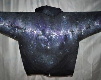 Space Hoodie. Purple and blue Milky Way like galaxy on 2XL adult hoodie, space, cosmic, stars, beach, star gazing, camping, festival