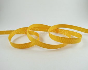 "Light Gold - Bright Gold - 3/8"" 7/8"" or 1 1/2"" Grosgrain - You Choose Length & Width -  Bow, Scrapbooking, Sewing, Art Craft Supplies"