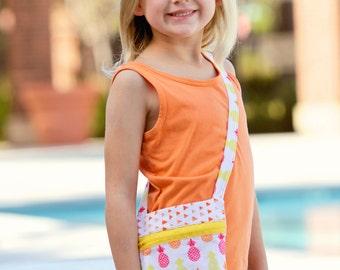 Pineapple Purse, Girls Purse, Zippered Bag, Girls Zippered Bag, Girls Pineapple Purse, Girls Pineapple Bag, Girls Bag, Small Bag, Small Tote