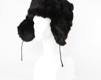 "Vintage Fur Trapper Warm Winter Hat Aviator Style Ear Flaps XLarge 61cm 24"""