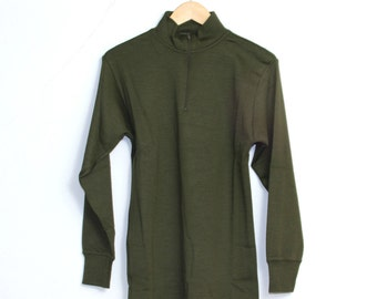 SALE New Unissued Italian Army Surplus Long Sleeve Olive Wool Thermal TShirt Top