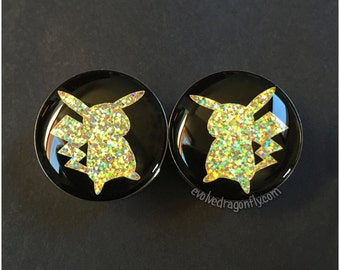 Pikachu Pokemon Plugs (Holographic!) - 0g, 00g, 7/16, 1/2, 9/16, 5/8, 3/4, 7/8, 1 Inch