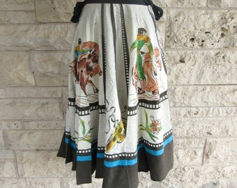 60's Circle Skirt Mexican Matador Skirt Boho Circle Skirt Hand painted Matador Full Skirt Small Medium Mid Century