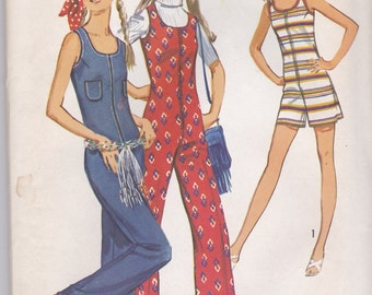 70s Sleeveless Jumpsuit or Playsuit Pattern Simplicity 9273 Size 11
