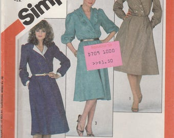 80s Faux Wrap Dress Pattern Simplicity 5719 Sizes 6 8 10 Uncut